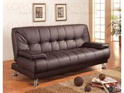 Brown Vinyl Sofa Bed by Coaster