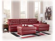 Left Facing Red Leather Sectional and Ottoman by Ashley Furniture