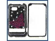 HTC Thunderbolt Full Diamond Black with Hot Pink Butterfly Protective Case