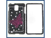 Samsung i997 (Infuse 4G) Full Diamond Black with Hot Pink Butterfly Protective Case
