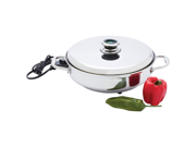 "Chef 's Secret 12 "" Round T304 Stainless Steel Deep Electric Skillet"