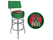 Milwaukee Bucks NBA Padded Swivel Bar Stool with Back
