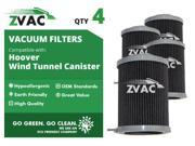 ZVac Replacement Filters for Hoover Windtunnel Canister 59134033 (4-Pack)