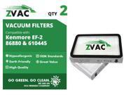 ZVac Kenmore EF-2 Exhaust HEPA Filters (2 Pack) 86880