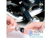 KiWAV motorcycle round bolt cap screw cover plug black for 8mm thread allen head bolts, ie M6 allen key