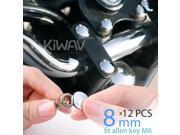 KiWAV motorcycle round bolt cap screw cover plug chrome for 8mm thread allen head bolts, ie M6 allen key