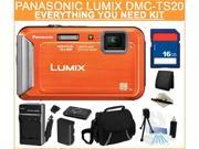 Panasonic DMC-TS20 16.1 MP (Orange) 4X Optical Zoom Waterproof Shockproof 25mm Wide Angle Digital Camera, Everything You Need Kit, DMC-TS20D