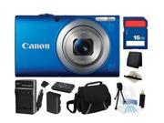 Canon PowerShot A4000 IS (Blue) 16.0 MP 8X Optical Zoom 28mm Wide Angle Digital Camera with 720p HD Video Recording, Everything You Need Kit, 6152B001