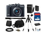 Canon PowerShot G15 Black Approx. 12.1 MP 5X Optical Zoom 28mm Wide Angle Digital Camera HDTV Output, Everything You Need Kit, 6350B001
