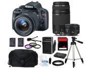 Canon EOS Rebel SL1/100D SLR Camera 18-55mm + 75-300mm + 50mm f/1.8 (3 Lens Kit)