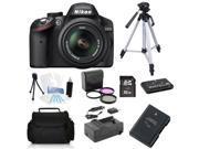 Nikon D3200 24.1 MP DSLR - Black (Kit w/ VR 18-55mm Lens) + (Holiday Bundle Kit)