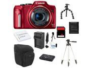 Canon PowerShot SX170 IS 16.0 MP Digital Camera + 16GB Essential Bundle (Red)