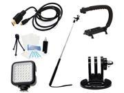 GoPro Ultimate Accessory Kit + HDMI + Flash for GoPro Hero 4 Silver Edition