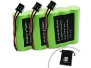 3 PACK Uniden BT-909 , BT909 Replacement Cordless Phone Battery for DCT736 / TRU9280 / WXI477 / WXI377 / KXTC1210 and More ** Includes Accessory Bag