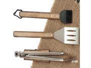 Charcoal Companion CC1000 Oval Pro Chef Espresso 3-Piece BBQ Tool Set