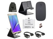 EEEKit 5in1 Office Kit for Samsung Galaxy S7 S7 Edge Note 5/4/S6 Edge Plus,2.4G Wireless Mouse,Metal Stand Holder,OTG Card Reader, 2 pack OTG cable
