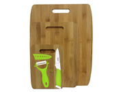 6 Pc Bamboo Cutting Boards with Ceramic Knife and Peeler Set Green