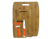 6 Pc Bamboo Cutting Boards with Ceramic Knife and Peeler Set Orange