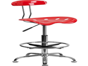 Flash Furniture LF-215-CherryTOMATO-GG Vibrant Cherry Tomato and Chrome Drafting Stool with Tractor Seat 9SIA10556H8096