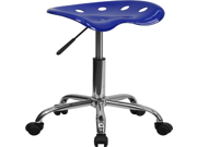 Flash Furniture LF-214A-NAUTICALBLUE-GG Vibrant Nautical Blue Tractor Seat and Chrome Stool 9SIA10556H8349