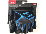 Under Armour UA Clean Up Mens Batting Gloves ~ Black/Neon Blue ~ Small 9SIA10556P7272