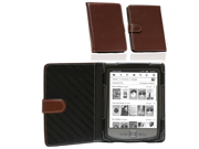 Navitech Brown Leather Flip Open Book Style Carry Case Cover Clip On Flexible Backlight Night Light Reading Light For The New Kindle The Lighter smalle