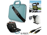 Sky Blue Cady Executive Leather Hard Cube Carrying Case with Shoulder Strap Barnes Noble NOOK HD Tablet Windshield Car Mount Aux Cable