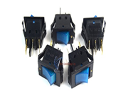 5 pack 12 Volt Lightning Blue LED Rocker Mini Switch On Off Car Automotive