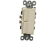 Commercial Grade Decorative Double Rocker Switch Ivory 15A 120 277V Pkg of 2