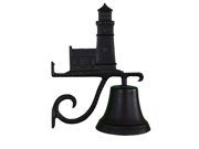 Montague Metal Products Cast Bell with Black Cottage Lighthouse