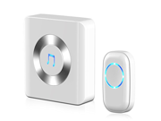 Chime, JETech Portable Wireless DoorBell Chime Plug-in Push Button with LED Indicator Over 50 Chimes, No Batteries Required for the Receiver (White) - 2120