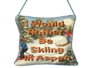 123 Creations AP02H Be Skiing... petit point doorknob hanger