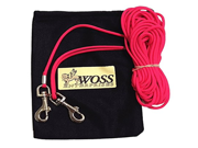 Leashinabag Lightweight 30 Ft. Red Paracord Pet Tie Out with Handle Loop. For Dogs up to 35 Pounds. 100% USA Made.