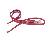 Dogline 1 4 Inch Wide Soft Padded Rolled Round Leather Dog Leash Lead 4 Feet Pink