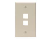Leviton 41080 2IP QuickPort Wallplate Single Gang 2 Port Ivory