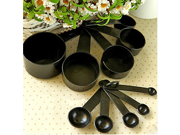 Black Plastic Measuring Spoon Cup Tool Cooking Scoop Kitchen Coffee Baking Set of 10-piece 9SIA10558K2958