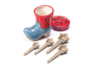 Star Measuring Spoons in Boot Holder Set of 5 Stoneware