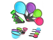 Silicone Measuring Cups Set Spoon Kitchen Tool Collapsible Baking Cook Set of 8-piece 9SIA10558K3440