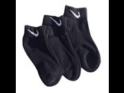 Nike Boys 3 Pairs Pack Performance Cotton Cushioned Low Cut Socks, Black, Shoe Size 3Y-5Y 9SIA10558X2593