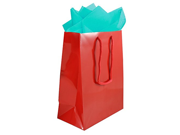 """JAM Paper® Colorful Gift Bag Assortment - 2 Large Glossy Bags (10"""""""" x 13"""""""") with Tissue Paper (10 Pack) - Red Gift Bags & Aqua Blue Tissue Paper Combo - 3 Items T"""" 9SIA1055954941"""