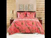 Realtree APC 3 Piece Comforter Set Queen Bright Coral