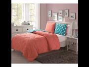 Super Comfortable Bold Colors and Fun Reverse Juniper Comforter Set Coral Full
