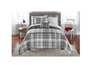 Mainstays Bed in a Bag Bedding Comforter Set Grey Plaid Full