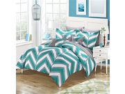 Chic Home 10 Piece Warrick Chevron and Geometric printed REVERSIBLE Queen Bed In a Bag Comforter Set Aqua Sheets set and Deocrative pillows included