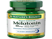 Natures Bounty Melatonin 10 mg 45 Quick Dissolve Tablets 6 Pack
