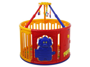 Dream On Me Deluxe Circular Playard with Jungle Gym Yellow Red