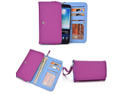 Smartphone Wallet fits Prestigio MultiPhone 7600 Duo Vibrant Puple Vibe Blue