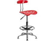 Flash Furniture LF-215-CherryTOMATO-GG Vibrant Cherry Tomato and Chrome Drafting Stool with Tractor Seat 9SIA10564U7905