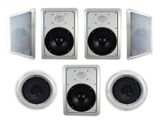 """Acoustic Audio HT-87 In Wall In Ceiling 2100w 8"""" Home Theater 7 Speaker System"""