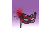Red Black Lace Half Mask 9SIA01108Z5056